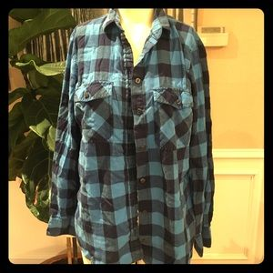JCrew button down plaid top, petite, size M